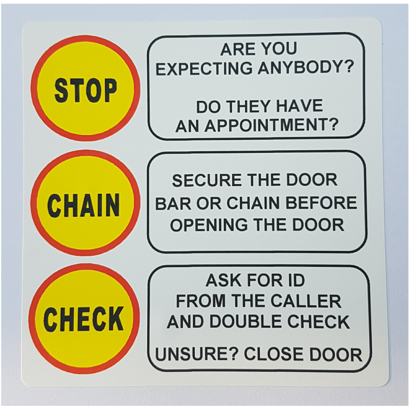 Stop Chain Check-Door,Home,Warning,Notice,Sign,Sticker,Elderly,Cold Calling,Callers,Safety,Lock,Gift